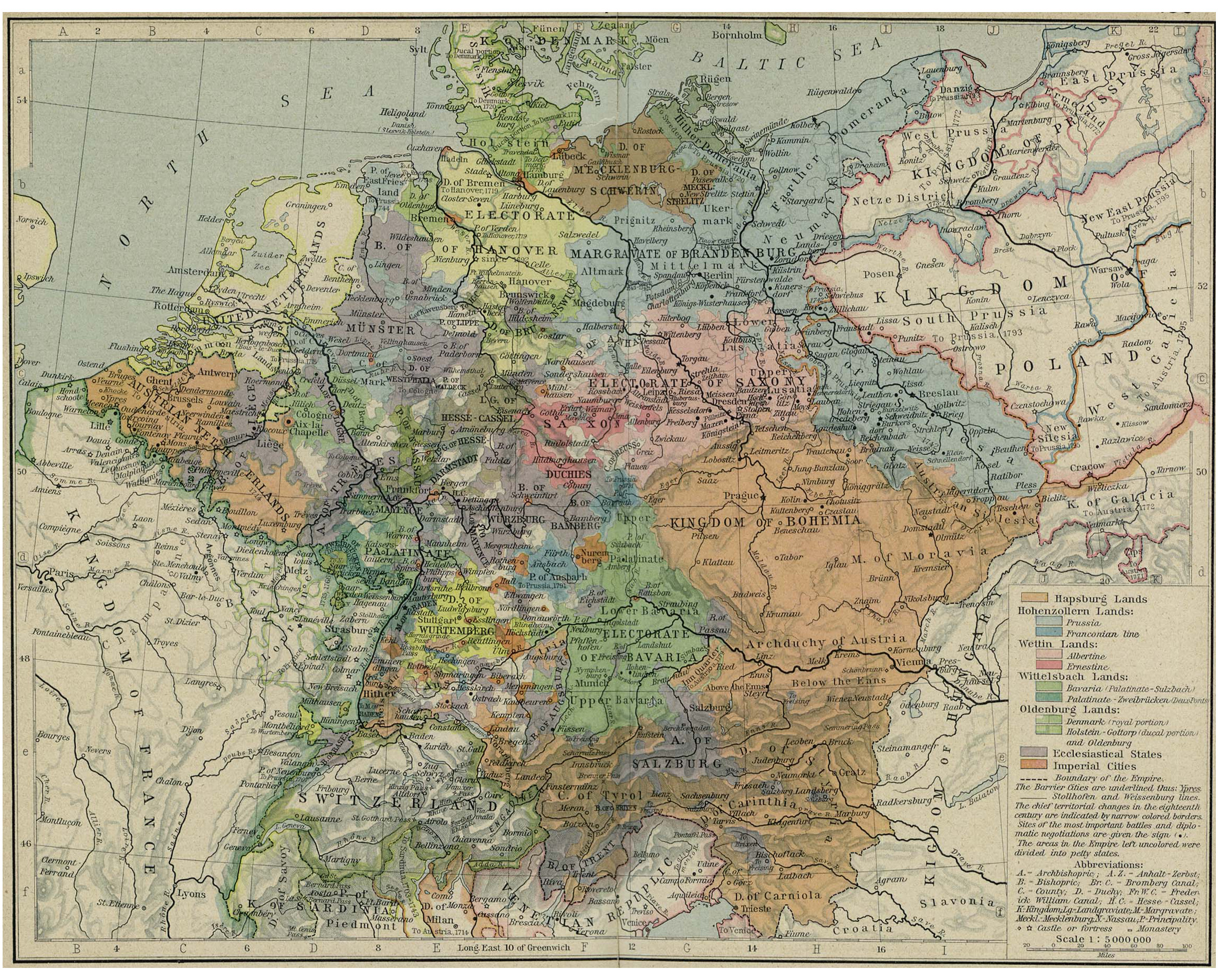 """Map of """"Europe 1786"""", from the """"Historical Atlas"""" by William R. Shepherd, 1926, courtesy of the Perry-Castañeda Library Map Collection, University of Texas Libraries. Accompanying the FROM HUMBLE ORIGINS webpage Loci."""